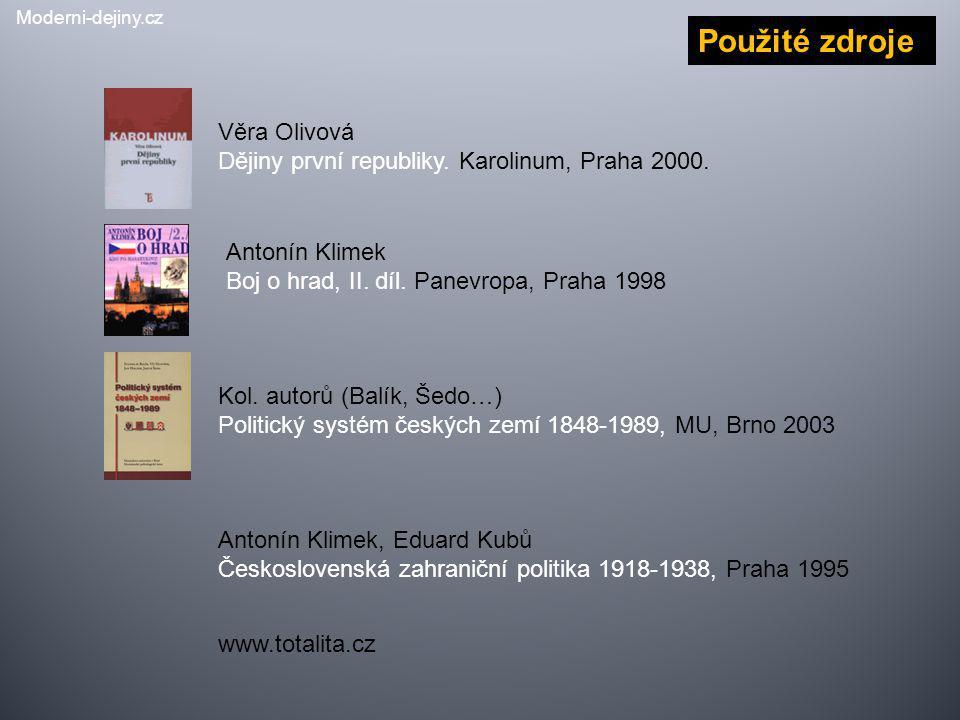 Antonín Klimek Boj o hrad, II. díl. Panevropa, Praha 1998 Věra Olivová Dějiny první republiky. Karolinum, Praha 2000. Kol. autorů (Balík, Šedo…) Polit