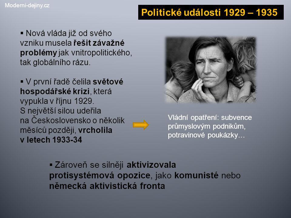 Politické události 1929 – 1935  Nová vláda již od svého vzniku musela řešit závažné problémy jak vnitropolitického, tak globálního rázu.  V první řa