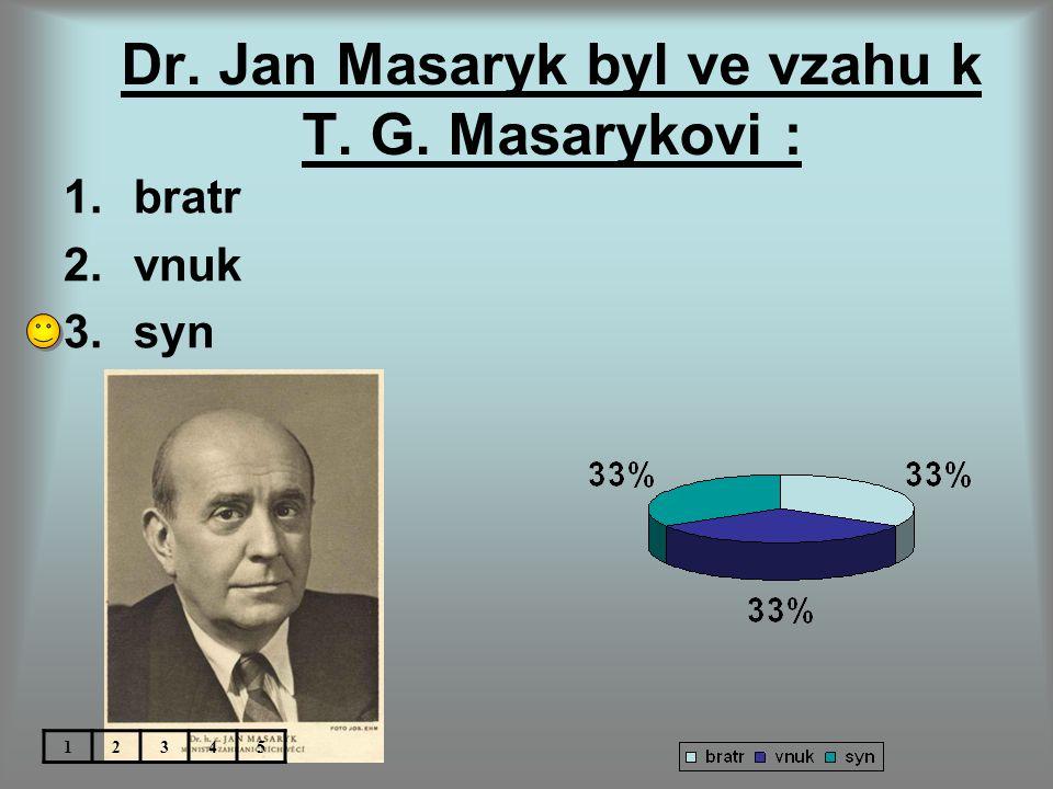 Dr. Jan Masaryk byl ve vzahu k T. G. Masarykovi : 1.bratr 2.vnuk 3.syn 12345