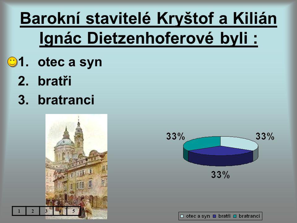 Barokní stavitelé Kryštof a Kilián Ignác Dietzenhoferové byli : 1.otec a syn 2.bratři 3.bratranci 12345