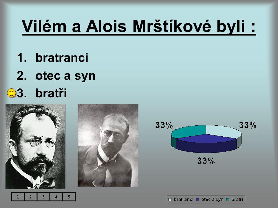 Vilém a Alois Mrštíkové byli : 1.bratranci 2.otec a syn 3.bratři 12345