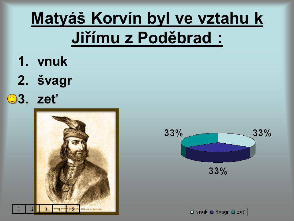 Matyáš Korvín byl ve vztahu k Jiřímu z Poděbrad : 1.vnuk 2.švagr 3.zeť 12345