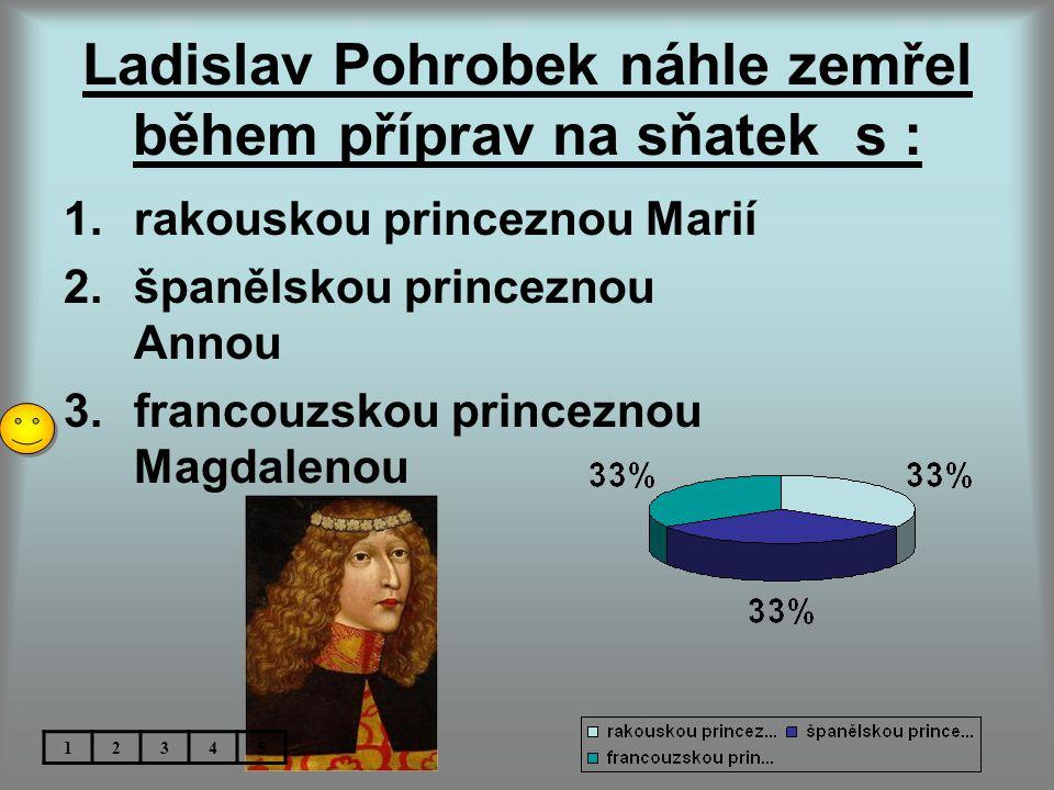 Ladislav Pohrobek náhle zemřel během příprav na sňatek s : 1.rakouskou princeznou Marií 2.španělskou princeznou Annou 3.francouzskou princeznou Magdalenou 12345