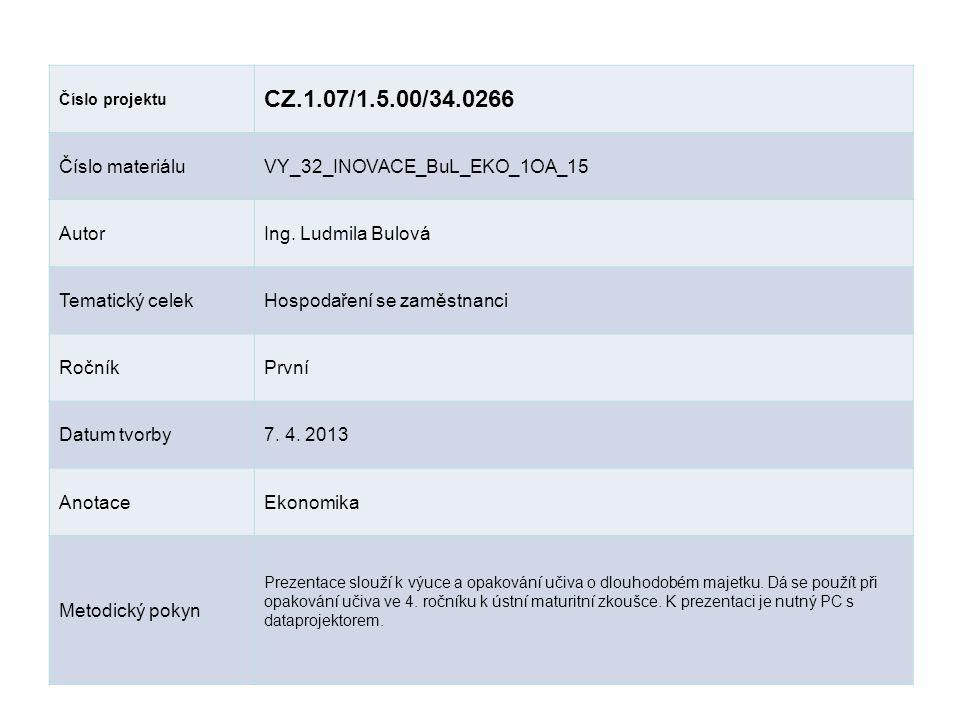 Číslo projektu CZ.1.07/1.5.00/34.0266 Číslo materiáluVY_32_INOVACE_BuL_EKO_1OA_15 AutorIng. Ludmila Bulová Tematický celekHospodaření se zaměstnanci R