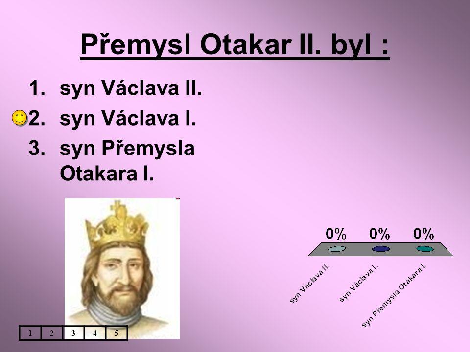 Přemysl Otakar II. byl : 1.syn Václava II. 2.syn Václava I. 3.syn Přemysla Otakara I. 12345