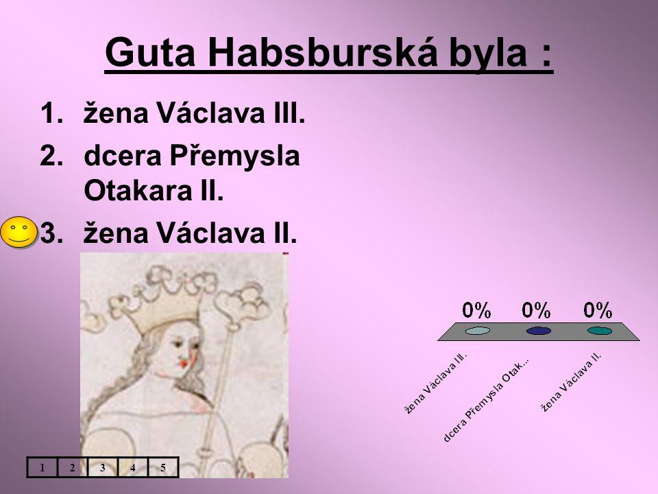 Guta Habsburská byla : 1.žena Václava III. 2.dcera Přemysla Otakara II. 3.žena Václava II. 12345