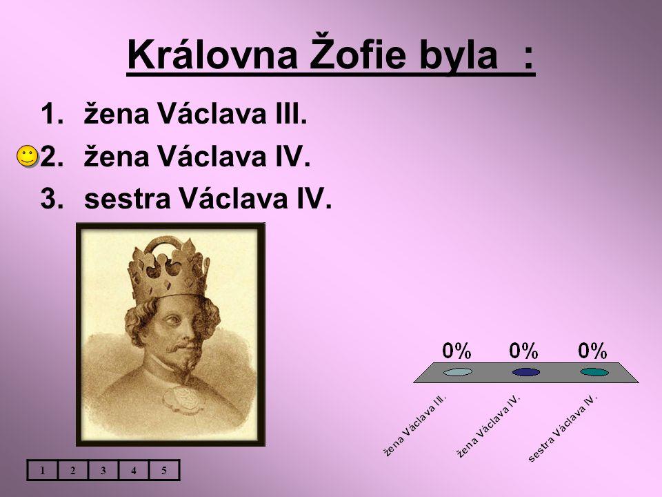 Královna Žofie byla : 1.žena Václava III. 2.žena Václava IV. 3.sestra Václava IV. 12345