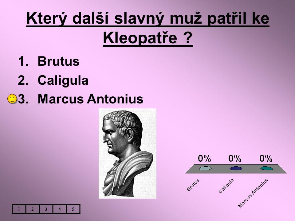 Který další slavný muž patřil ke Kleopatře ? 1.Brutus 2.Caligula 3.Marcus Antonius 12345
