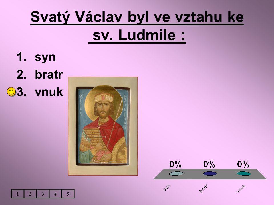 Svatý Václav byl ve vztahu ke sv. Ludmile : 1.syn 2.bratr 3.vnuk 12345