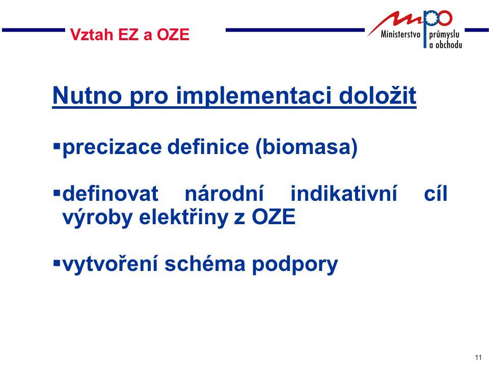 11 Vztah EZ a OZE Nutno pro implementaci doložit  precizace definice (biomasa)  definovat národní indikativní cíl výroby elektřiny z OZE  vytvoření schéma podpory