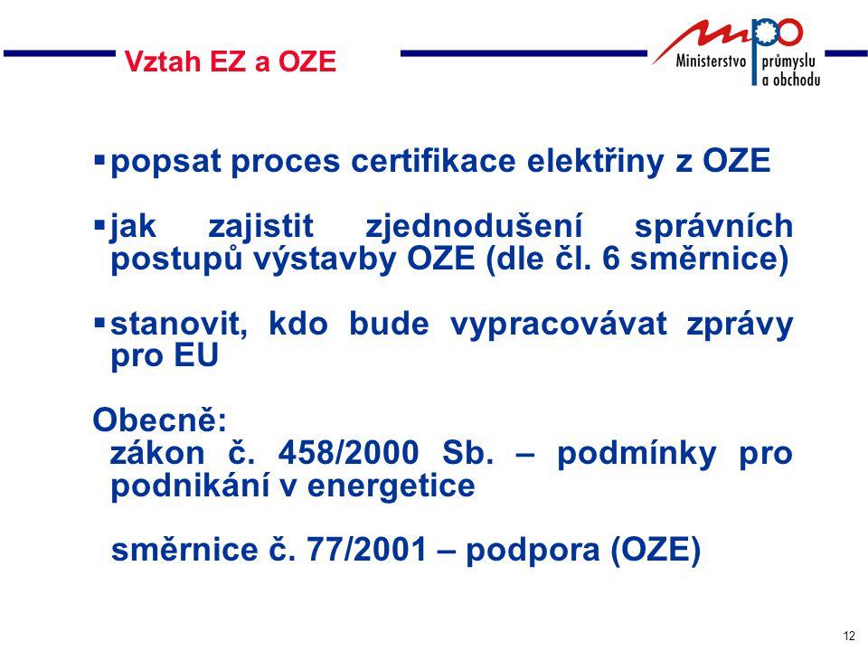 12 Vztah EZ a OZE  popsat proces certifikace elektřiny z OZE  jak zajistit zjednodušení správních postupů výstavby OZE (dle čl.