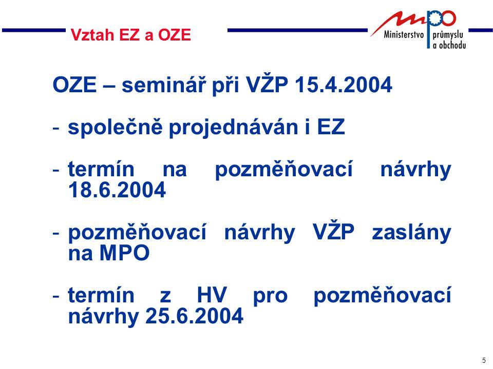 5 Vztah EZ a OZE OZE – seminář při VŽP 15.4.2004 -společně projednáván i EZ -termín na pozměňovací návrhy 18.6.2004 -pozměňovací návrhy VŽP zaslány na MPO -termín z HV pro pozměňovací návrhy 25.6.2004