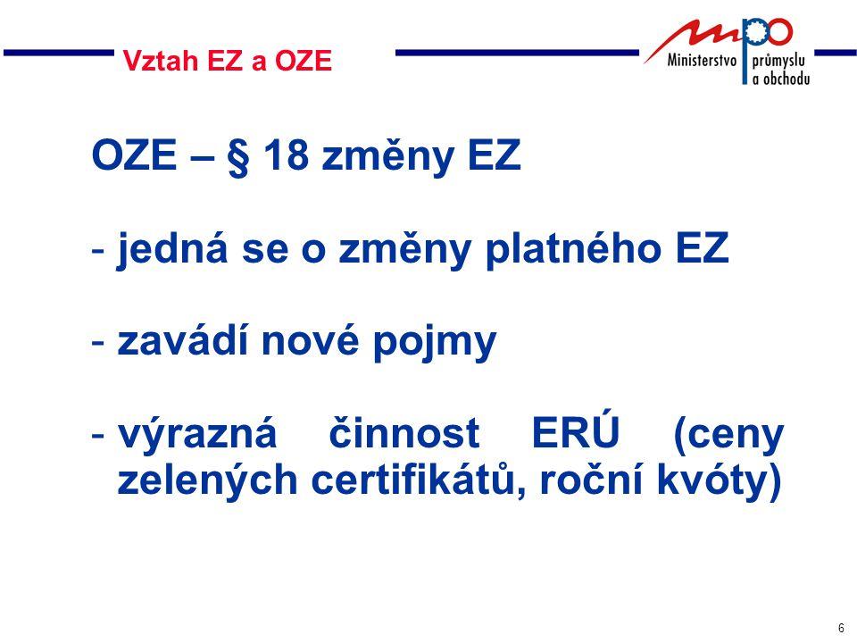 6 Vztah EZ a OZE OZE – § 18 změny EZ -jedná se o změny platného EZ -zavádí nové pojmy -výrazná činnost ERÚ (ceny zelených certifikátů, roční kvóty)