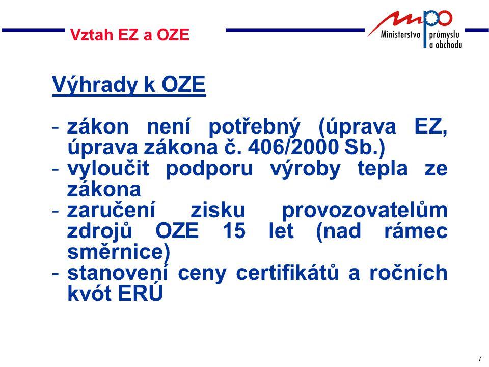 7 Vztah EZ a OZE Výhrady k OZE -zákon není potřebný (úprava EZ, úprava zákona č.