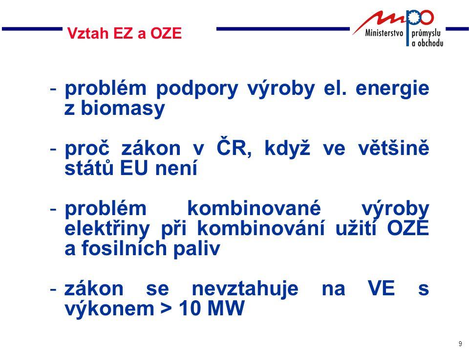 9 Vztah EZ a OZE -problém podpory výroby el.