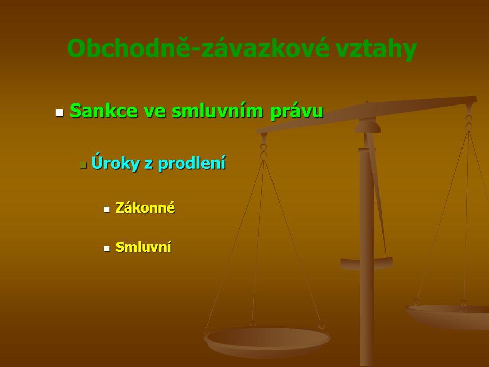 Obchodně-závazkové vztahy Sankce ve smluvním právu Sankce ve smluvním právu Úroky z prodlení Úroky z prodlení Zákonné Zákonné Smluvní Smluvní