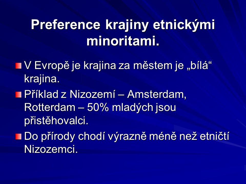 """Preference krajiny etnickými minoritami. V Evropě je krajina za městem je """"bílá"""" krajina. Příklad z Nizozemí – Amsterdam, Rotterdam – 50% mladých jsou"""