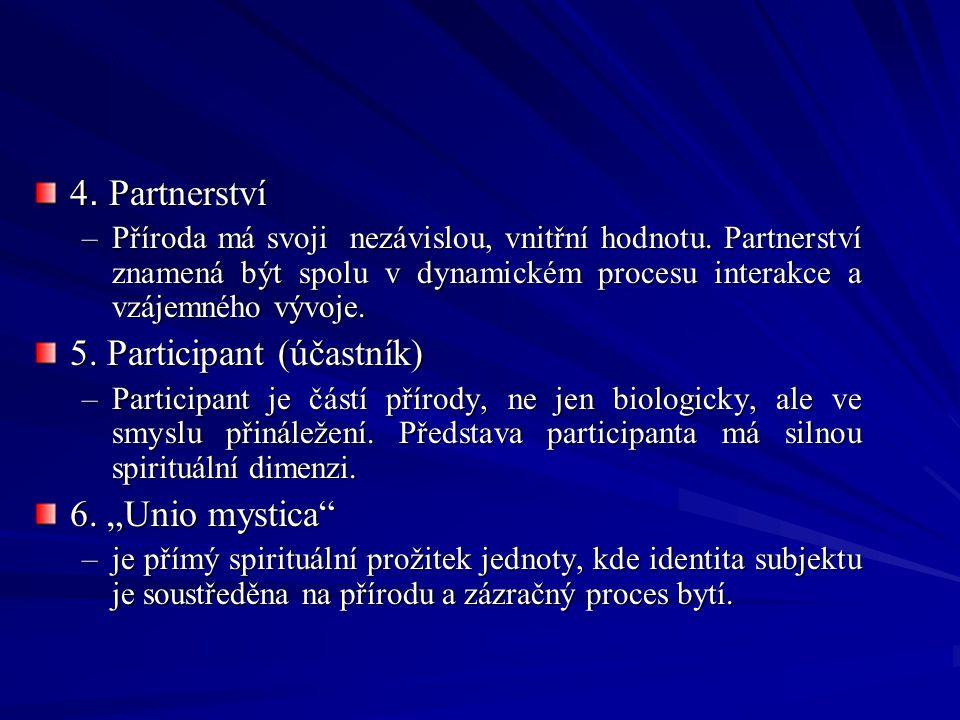 4. Partnerství –Příroda má svoji nezávislou, vnitřní hodnotu. Partnerství znamená být spolu v dynamickém procesu interakce a vzájemného vývoje. 5. Par