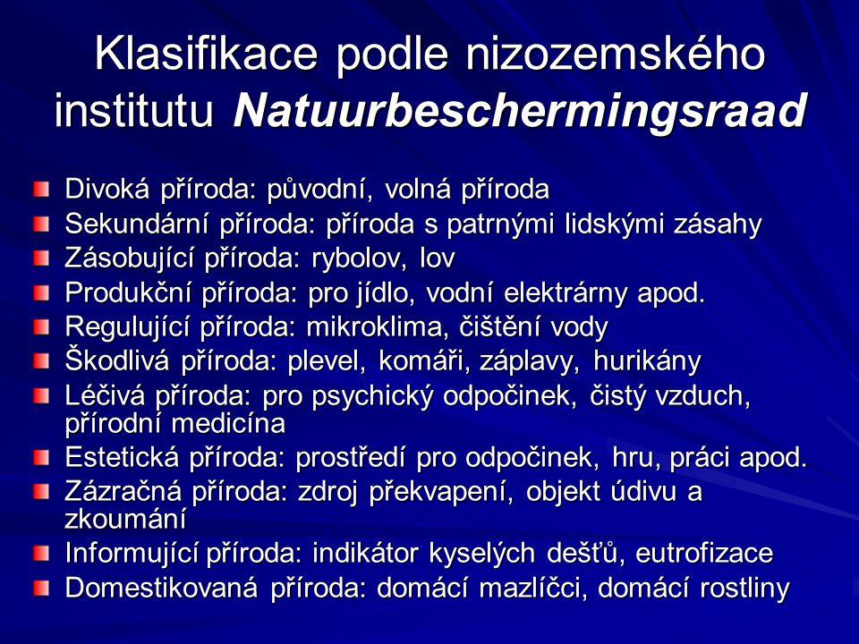 Klasifikace podle nizozemského institutu Natuurbeschermingsraad Divoká příroda: původní, volná příroda Sekundární příroda: příroda s patrnými lidskými zásahy Zásobující příroda: rybolov, lov Produkční příroda: pro jídlo, vodní elektrárny apod.