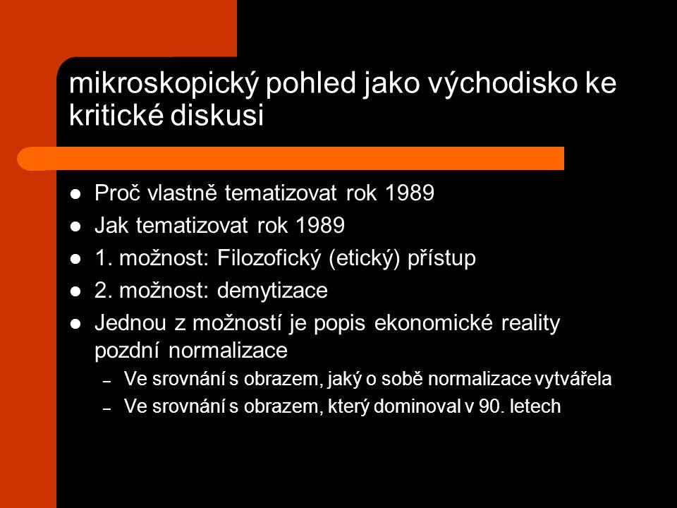 mikroskopický pohled jako východisko ke kritické diskusi Proč vlastně tematizovat rok 1989 Jak tematizovat rok 1989 1.
