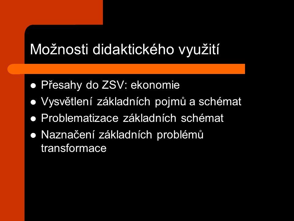 Možnosti didaktického využití Přesahy do ZSV: ekonomie Vysvětlení základních pojmů a schémat Problematizace základních schémat Naznačení základních problémů transformace