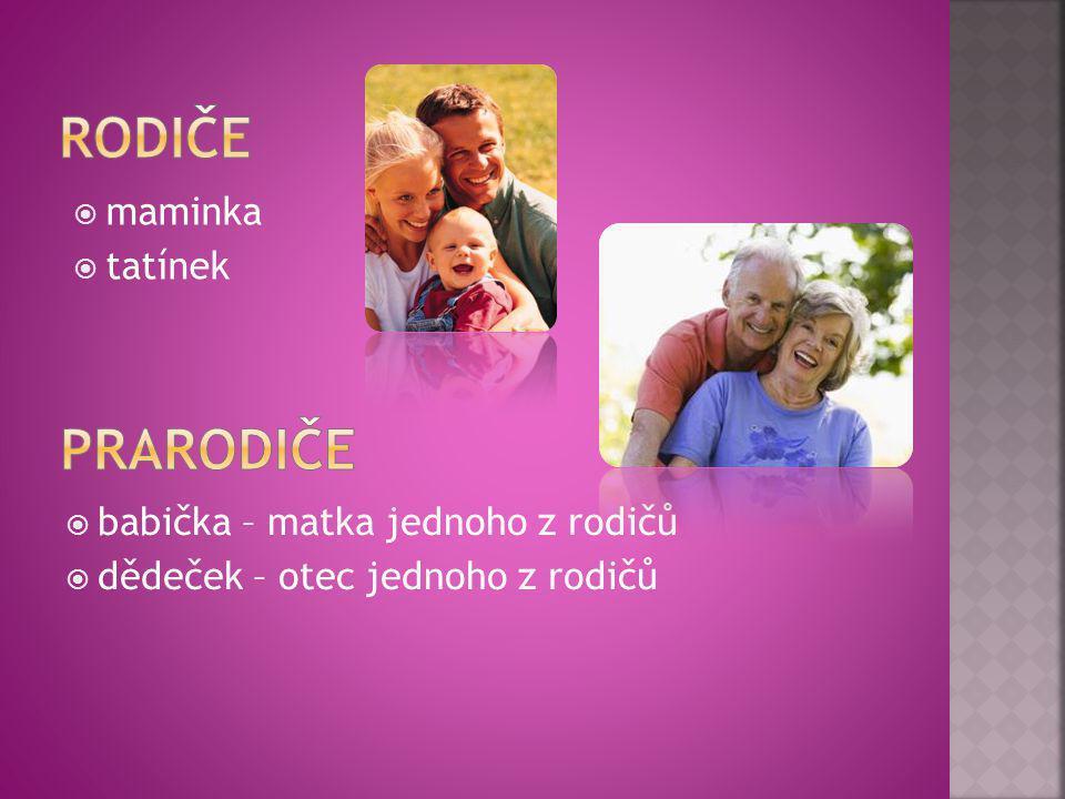  babička – matka jednoho z rodičů  dědeček – otec jednoho z rodičů  maminka  tatínek