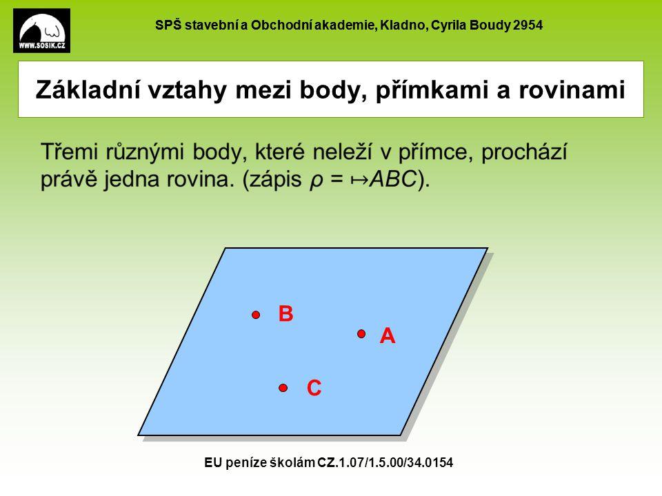 SPŠ stavební a Obchodní akademie, Kladno, Cyrila Boudy 2954 EU peníze školám CZ.1.07/1.5.00/34.0154 Základní vztahy mezi body, přímkami a rovinami Dvěma různoběžnými přímkami prochází právě jedna rovina.