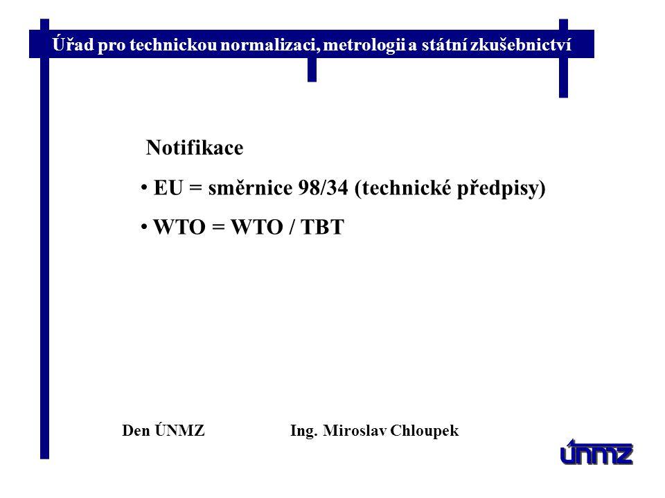 Úřad pro technickou normalizaci, metrologii a státní zkušebnictví Notifikace EU = směrnice 98/34 (technické předpisy) WTO = WTO / TBT Den ÚNMZIng.