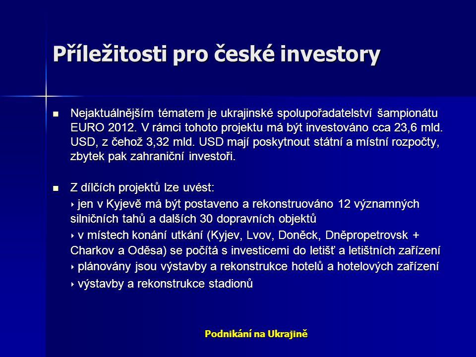 Podnikání na Ukrajině Příležitosti pro české investory Nejaktuálnějším tématem je ukrajinské spolupořadatelství šampionátu EURO 2012. V rámci tohoto p