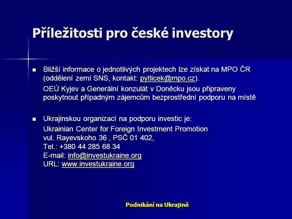 Podnikání na Ukrajině Příležitosti pro české investory Bližší informace o jednotlivých projektech lze získat na MPO ČR (oddělení zemí SNS, kontakt: py