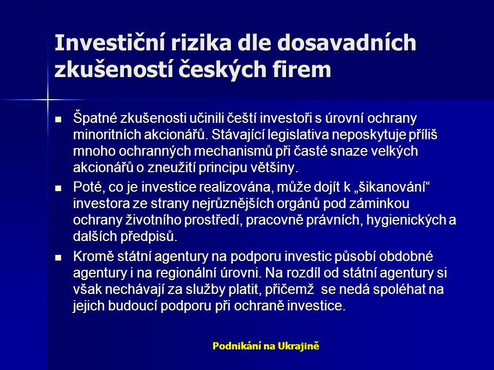 Podnikání na Ukrajině Investiční rizika dle dosavadních zkušeností českých firem Špatné zkušenosti učinili čeští investoři s úrovní ochrany minoritníc