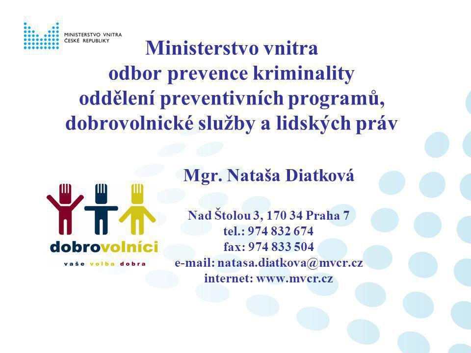Ministerstvo vnitra odbor prevence kriminality oddělení preventivních programů, dobrovolnické služby a lidských práv Mgr. Nataša Diatková Nad Štolou 3