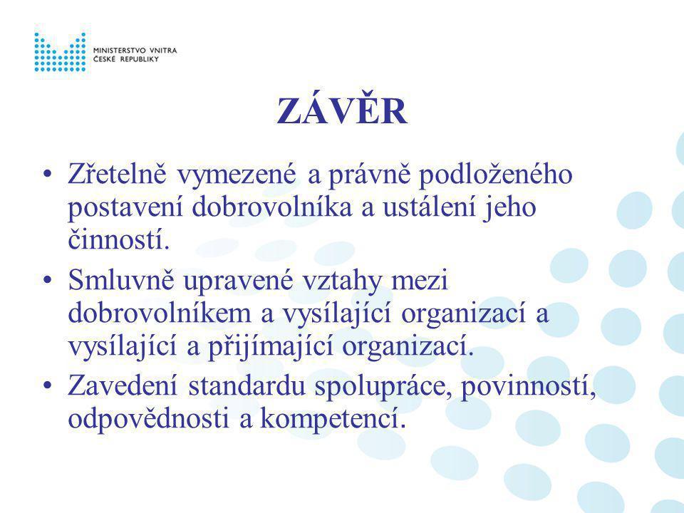 ZÁVĚR Zřetelně vymezené a právně podloženého postavení dobrovolníka a ustálení jeho činností.