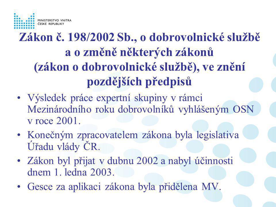 Zákon č. 198/2002 Sb., o dobrovolnické službě a o změně některých zákonů (zákon o dobrovolnické službě), ve znění pozdějších předpisů Výsledek práce e