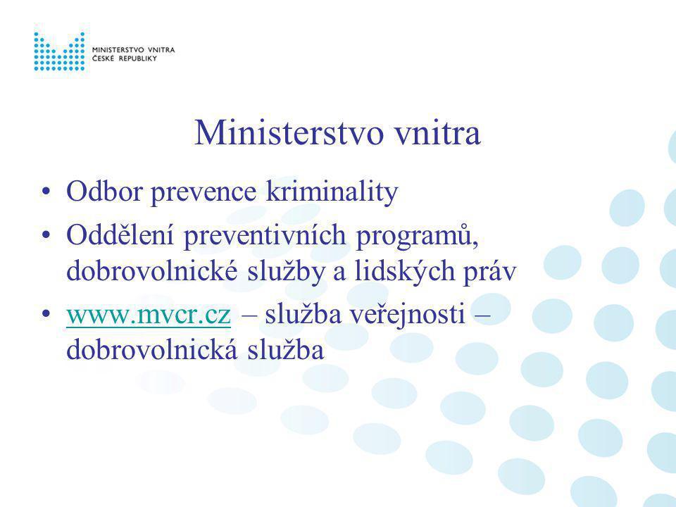 Ministerstvo vnitra Odbor prevence kriminality Oddělení preventivních programů, dobrovolnické služby a lidských práv www.mvcr.cz – služba veřejnosti –