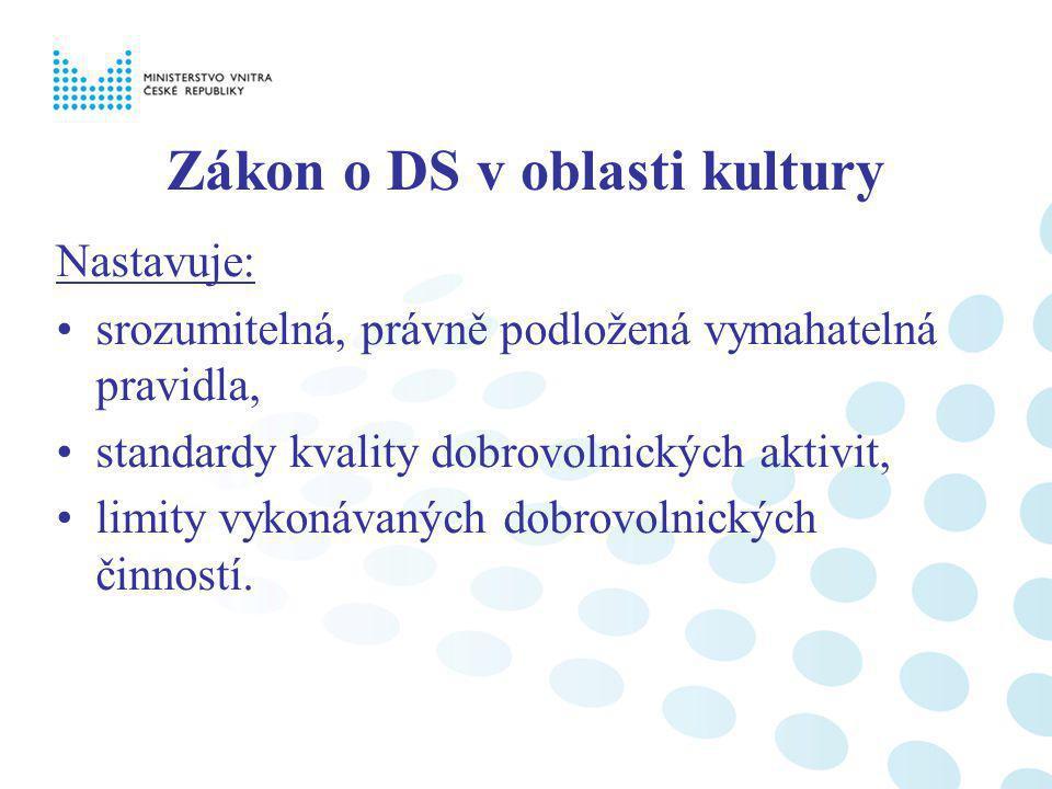 Zákon o DS v oblasti kultury Nastavuje: srozumitelná, právně podložená vymahatelná pravidla, standardy kvality dobrovolnických aktivit, limity vykonávaných dobrovolnických činností.