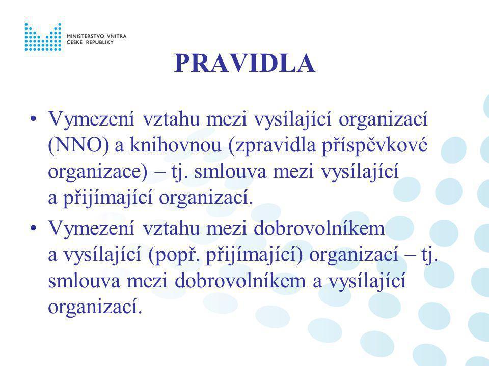 PRAVIDLA Vymezení vztahu mezi vysílající organizací (NNO) a knihovnou (zpravidla příspěvkové organizace) – tj. smlouva mezi vysílající a přijímající o