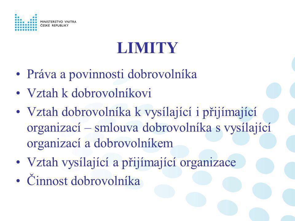 LIMITY Práva a povinnosti dobrovolníka Vztah k dobrovolníkovi Vztah dobrovolníka k vysílající i přijímající organizací – smlouva dobrovolníka s vysíla
