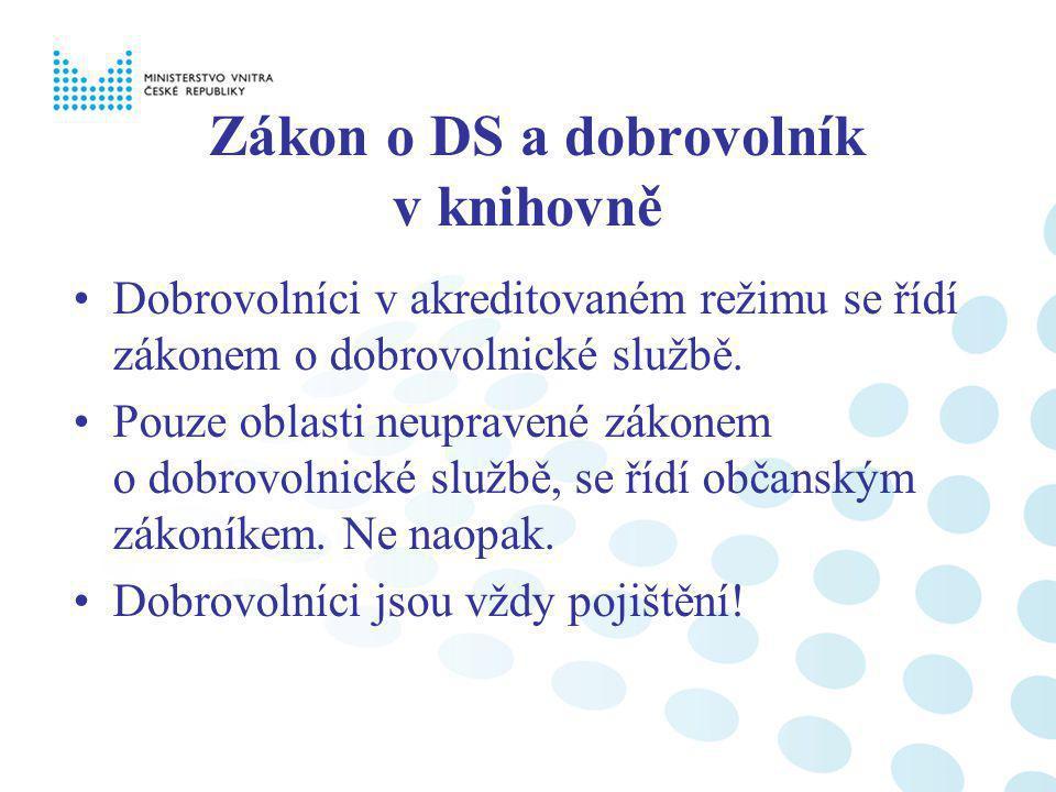 Zákon o DS a dobrovolník v knihovně Dobrovolníci v akreditovaném režimu se řídí zákonem o dobrovolnické službě. Pouze oblasti neupravené zákonem o dob
