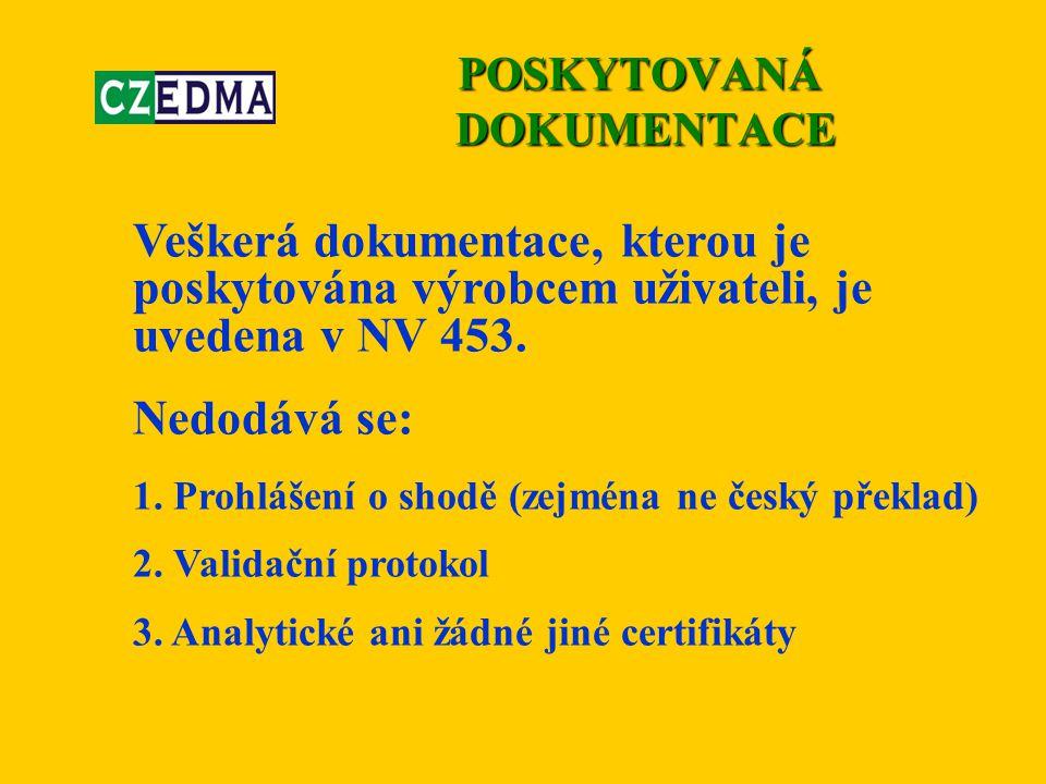 Veškerá dokumentace, kterou je poskytována výrobcem uživateli, je uvedena v NV 453. Nedodává se: 1. Prohlášení o shodě (zejména ne český překlad) 2. V