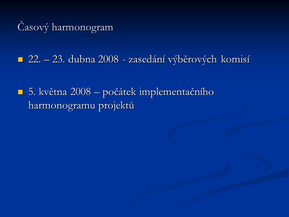Časový harmonogram 22. – 23. dubna 2008 - zasedání výběrových komisí 22.