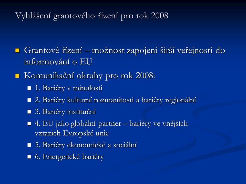 Vyhlášení grantového řízení pro rok 2008 Grantové řízení – možnost zapojení širší veřejnosti do informování o EU Grantové řízení – možnost zapojení širší veřejnosti do informování o EU Komunikační okruhy pro rok 2008: Komunikační okruhy pro rok 2008: 1.