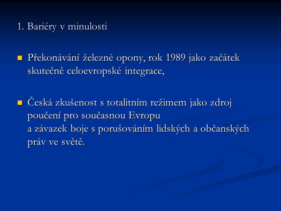 1. Bariéry v minulosti Překonávání železné opony, rok 1989 jako začátek skutečně celoevropské integrace, Překonávání železné opony, rok 1989 jako začá