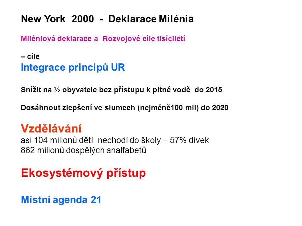 New York 2000 - Deklarace Milénia Miléniová deklarace a Rozvojové cíle tisíciletí – cíle Integrace principů UR Snížit na ½ obyvatele bez přístupu k pitné vodě do 2015 Dosáhnout zlepšení ve slumech (nejméně100 mil) do 2020 Vzdělávání asi 104 milionů dětí nechodí do školy – 57% dívek 862 milionů dospělých analfabetů Ekosystémový přístup Místní agenda 21