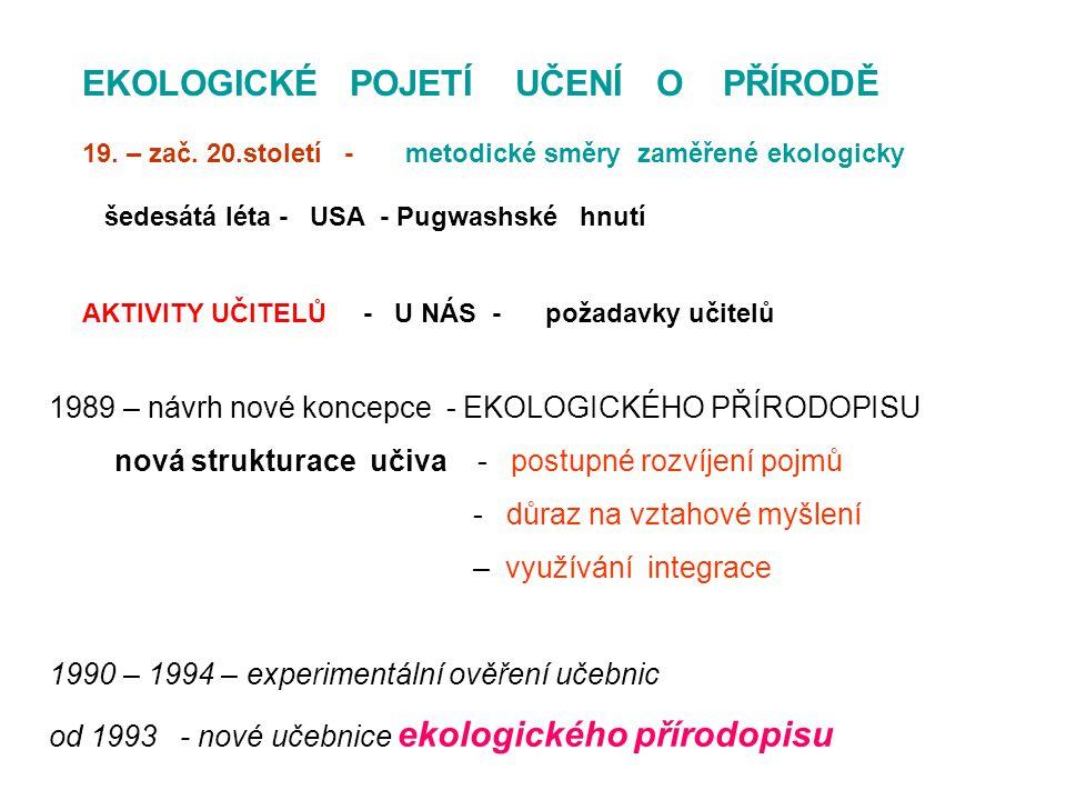 1989 – návrh nové koncepce - EKOLOGICKÉHO PŘÍRODOPISU nová strukturace učiva - postupné rozvíjení pojmů - důraz na vztahové myšlení – využívání integrace 1990 – 1994 – experimentální ověření učebnic od 1993 - nové učebnice ekologického přírodopisu EKOLOGICKÉ POJETÍ UČENÍ O PŘÍRODĚ 19.