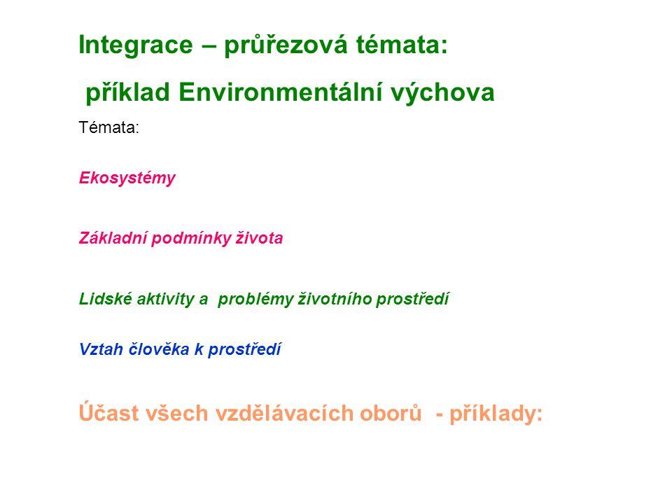 Integrace – průřezová témata: příklad Environmentální výchova Témata: Ekosystémy Základní podmínky života Lidské aktivity a problémy životního prostředí Vztah člověka k prostředí Účast všech vzdělávacích oborů - příklady: