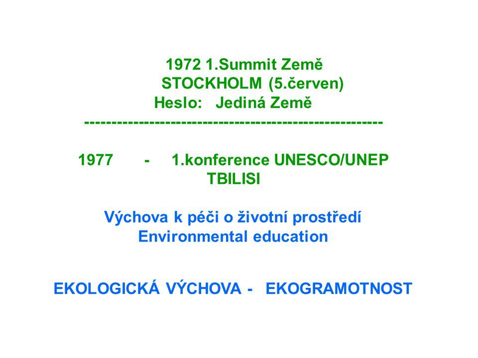 1972 1.Summit Země STOCKHOLM (5.červen) Heslo: Jediná Země -------------------------------------------------------- 1977 - 1.konference UNESCO/UNEP TBILISI Výchova k péči o životní prostředí Environmental education EKOLOGICKÁ VÝCHOVA - EKOGRAMOTNOST