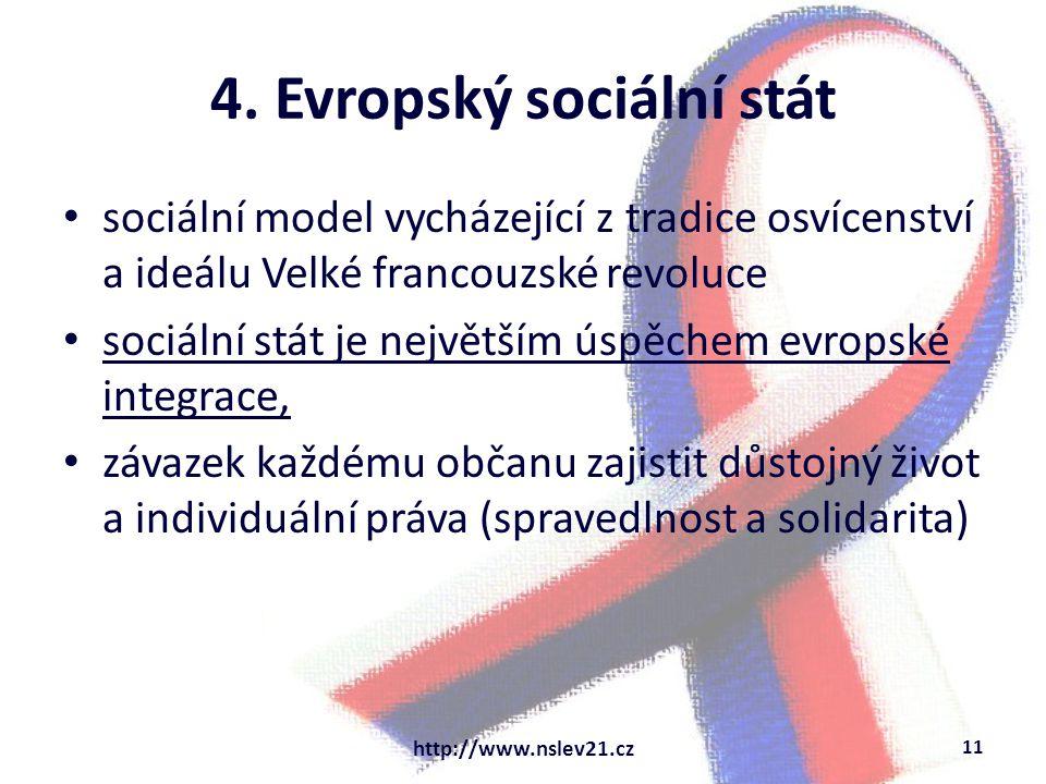 4. Evropský sociální stát sociální model vycházející z tradice osvícenství a ideálu Velké francouzské revoluce sociální stát je největším úspěchem evr