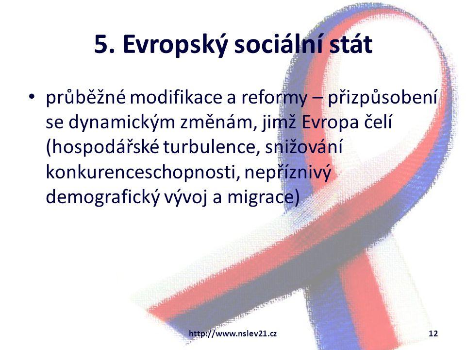 5. Evropský sociální stát průběžné modifikace a reformy – přizpůsobení se dynamickým změnám, jimž Evropa čelí (hospodářské turbulence, snižování konku