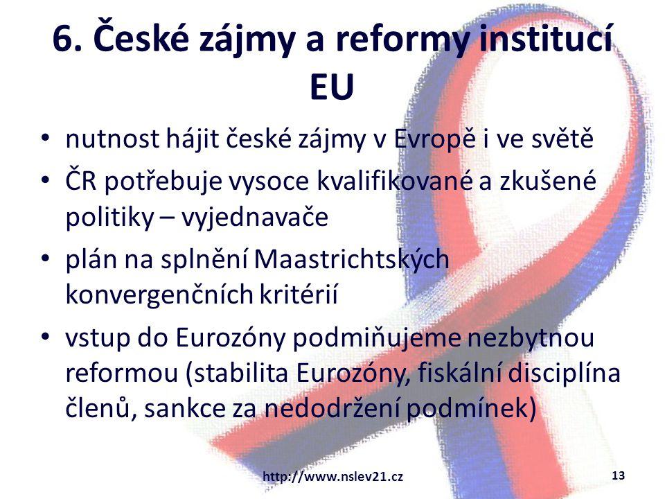6. České zájmy a reformy institucí EU nutnost hájit české zájmy v Evropě i ve světě ČR potřebuje vysoce kvalifikované a zkušené politiky – vyjednavače